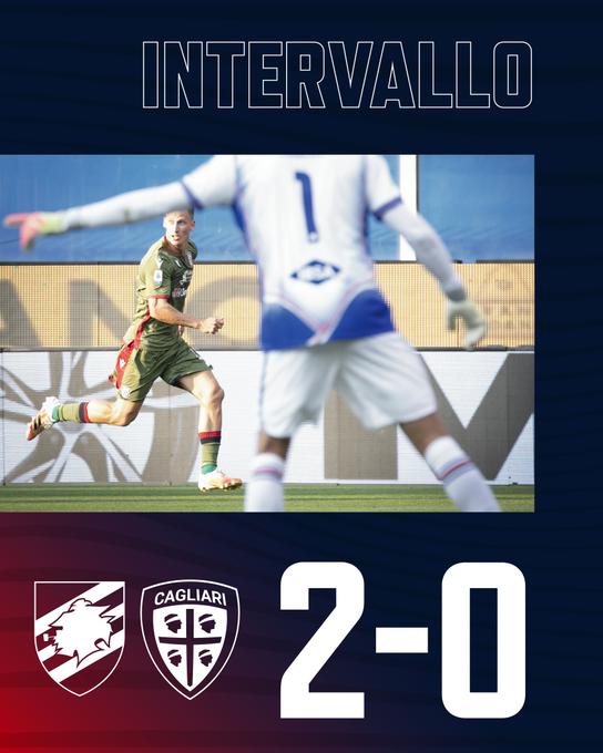 Al Ferraris, con le reti di Gabbiadini e Bonazzoli il primo tempo si chiude sul punteggio di Sampdoria-Cagliari 2-0.