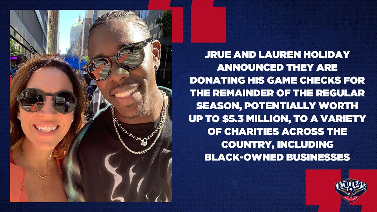 Incredible gesture by @Jrue_Holiday11 and @laurenholiday12 👏👏👏 https://t.co/3hm9dsIPns