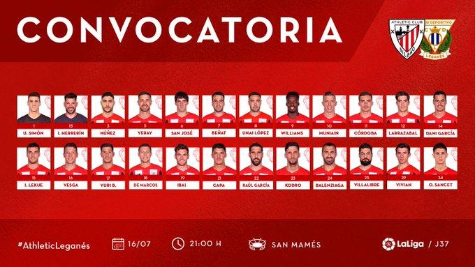 Ec_JKbyWsAApew7?format=jpg&name=small Yeray, Capa y Yuri entran en una lista de 24 para recibir al Leganés - Comunio-Biwenger