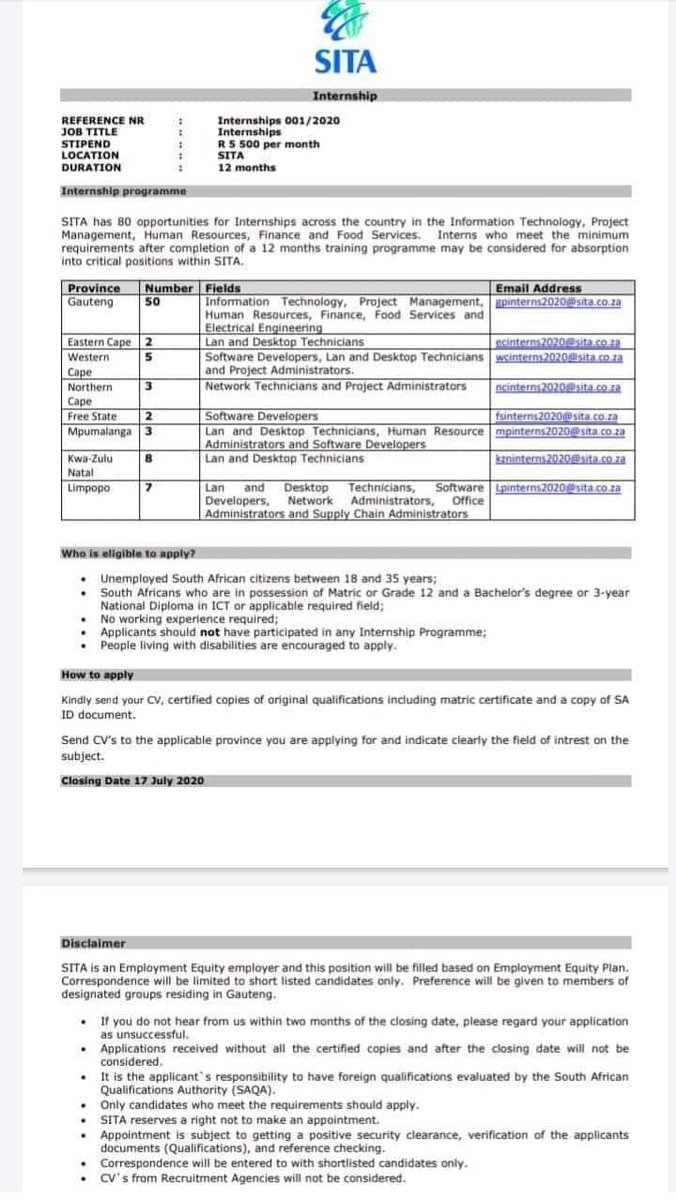 REFERENCE NR : Internships 001/2020 JOB TITLE : Internships STIPEND : R 5 500 per month LOCATION : SITA DURATION : 12 months Internship programme SITA has 80 opportunities for Internships across the country in the Information Technology