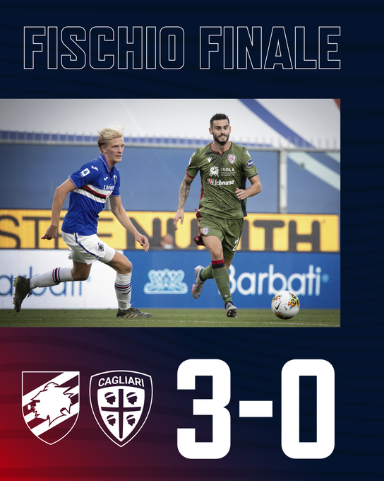 Il risultato finale, Sampdoria-Cagliari 3-0, non lascia spazio a repliche; gran vittoria dei padroni di casa!