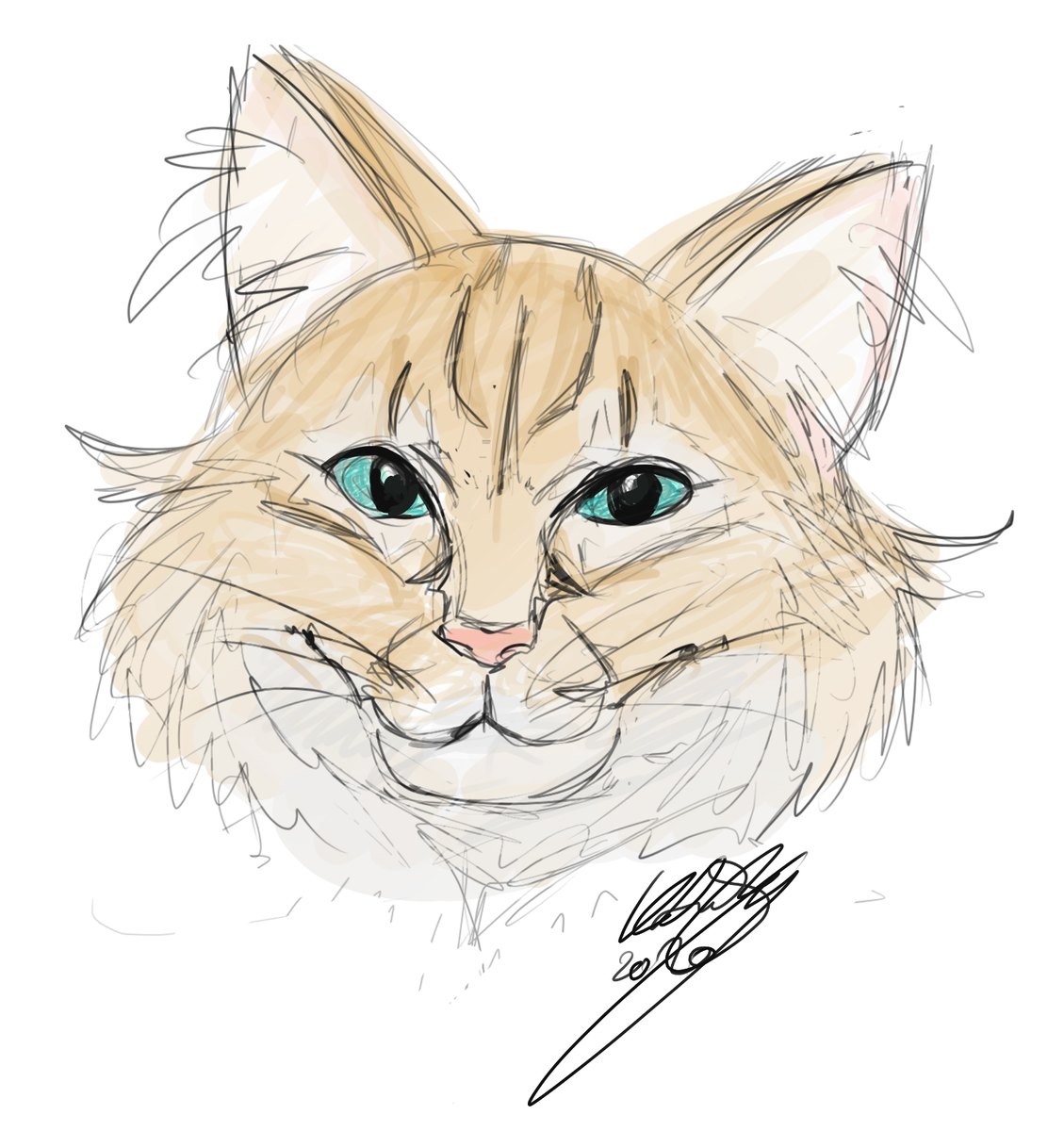 I have the purrfect drawing to add to this thread. This was a doodle of my very own furbaby that I did when I started using my drawing tablet this year! #CatsOfTwitterpic.twitter.com/2s0TzgpP0Q