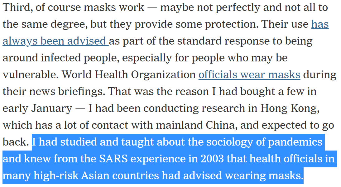When I started studying the data on masks, I was absolutely stunned. It seemed that masks could be our best tool to slow the spread of COVID-19 - but no-one was talking about it!…except for  @zeynep, who wrote a brilliant piece in the  @nytimes https://www.nytimes.com/2020/03/17/opinion/coronavirus-face-masks.html