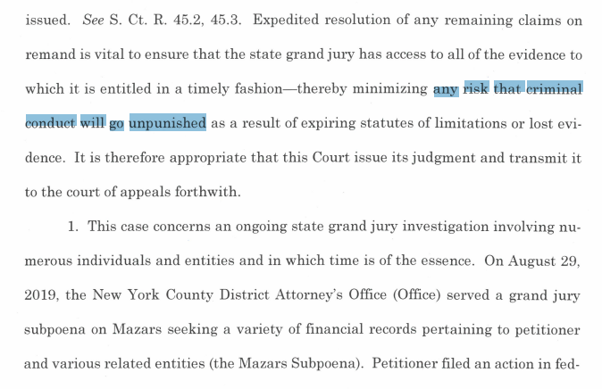 """NEW: Manhattan DA Vance asks Chief Justice Roberts to speed up transmission of SCOTUS judgment, a process that usually takes at least 25 days.  Time is of the essence to minimize """"any risk that criminal conduct will go unpunished,"""" Vance says.  Background:  https://www. courthousenews.com/trump-unveils- new-plan-of-attack-against-manhattan-ag-probe/  … <br>http://pic.twitter.com/4HmQfAkD2B"""