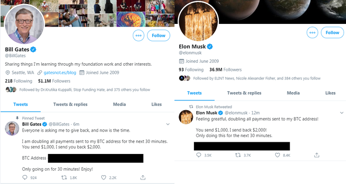 Elon Musk, Bill Gates and Cash App twitter accounts hacked