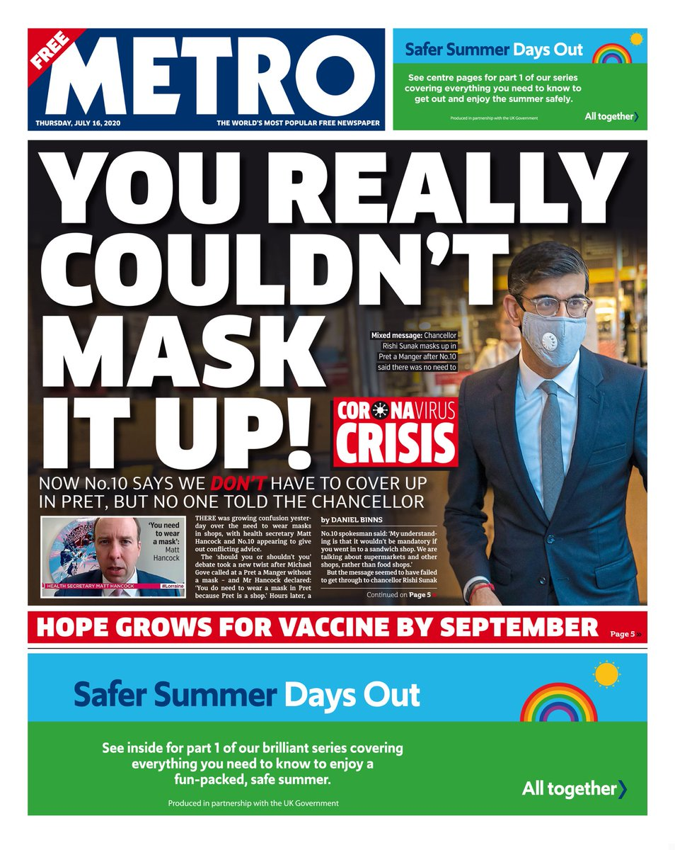 """Thursday's Metro: """"You really couldn't mask it up!"""" #TomorrowsPapersToday #BBCPapers (via @hendopolis) https://t.co/bPOSMuGaSV"""
