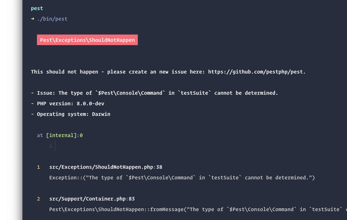 The `ShouldNotHappen` exception gets thrown when the code reaches execution outcomes that should not happen.   And it gives feedback like this screenshot on the console: pic.twitter.com/HLkB1DkmMe
