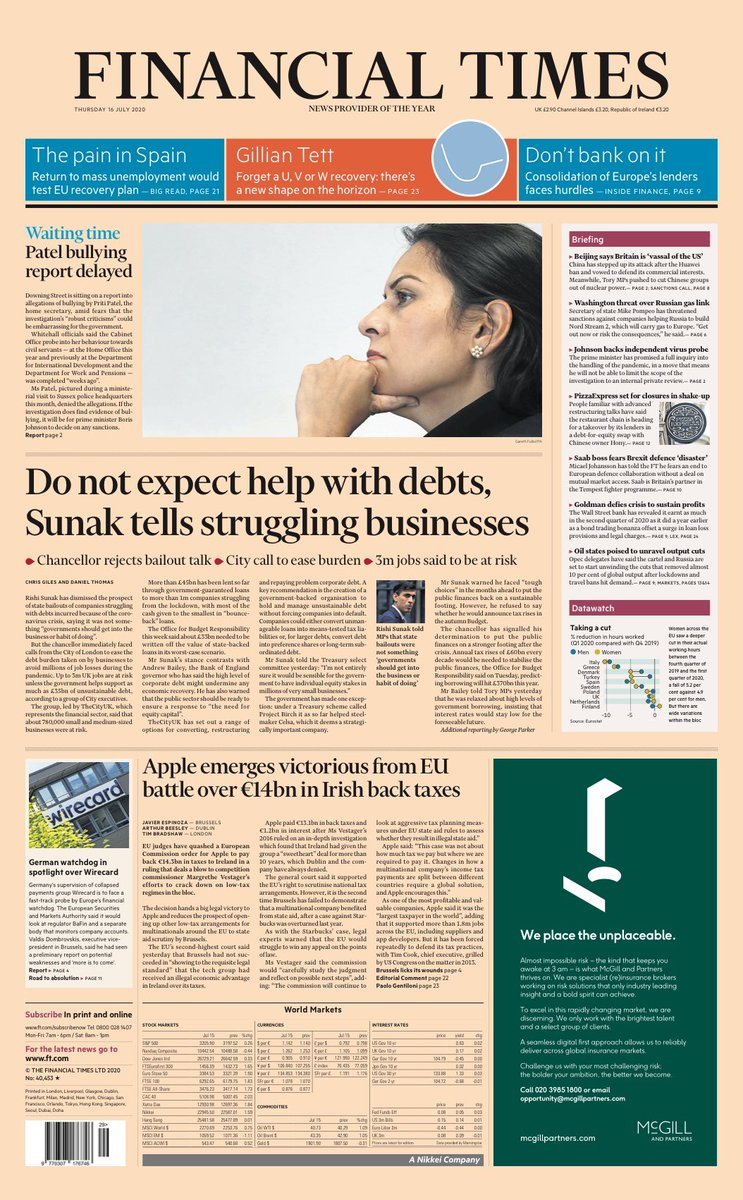 """Thursday's FT: """"Do not expect help with debts, Sunak tells struggling businesses"""" #TomorrowsPapersToday #BBCPapers (via @hendopolis) https://t.co/hhzrNQzSQ8"""