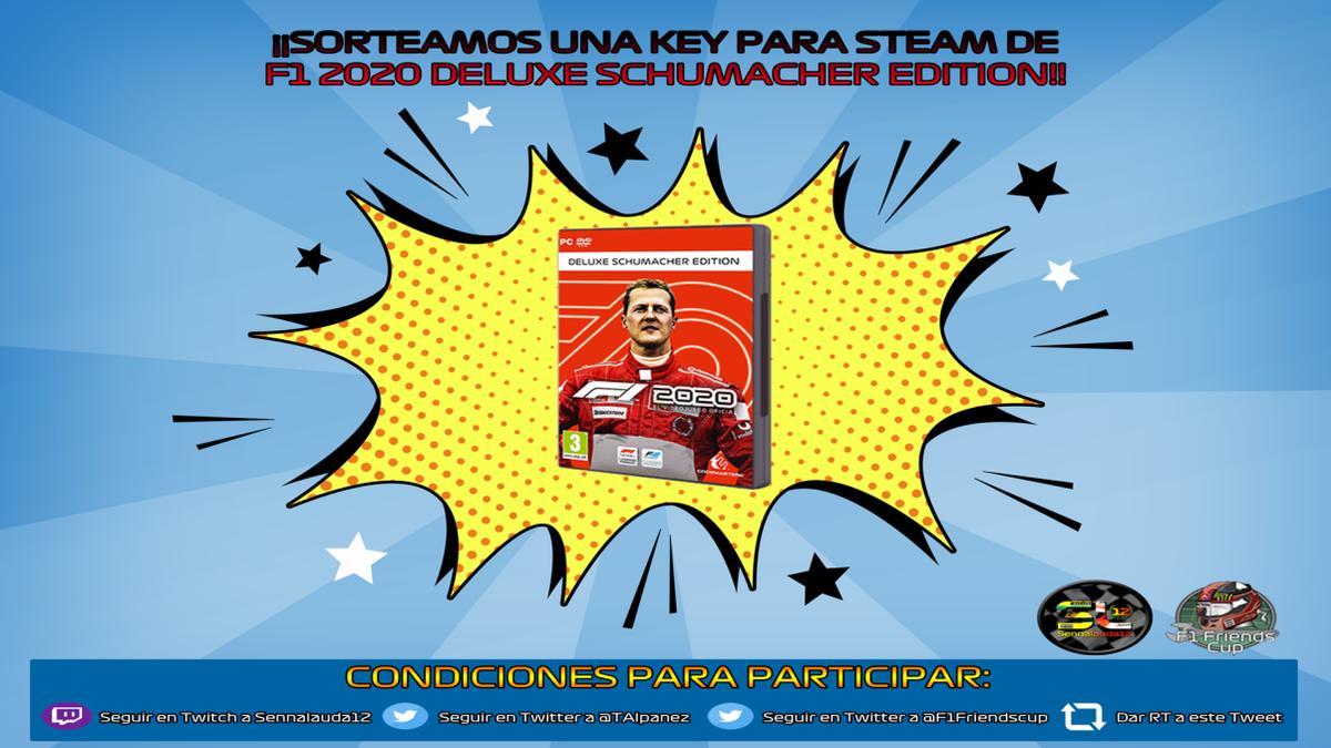 ¿Todavía no lo tienes?  El próximo día 25 se termina el sorteo del Formula 1 2020 Deluxe Schumacher edition para Steam.  Si quieres participar tienes que hacer lo siguiente:  - Seguir a @TAlpanez                  @F1Friendscup   - Seguir a https://t.co/WVTwFQLtDk  - Hacer RT https://t.co/1KDwchyyim