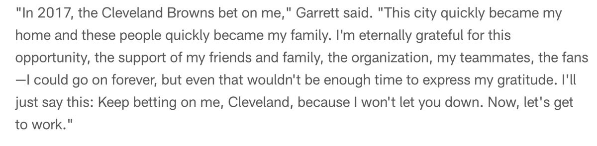 Myles Garretts quote after signing his lengthy extension with the Browns is the good stuff. brow.nz/9e554