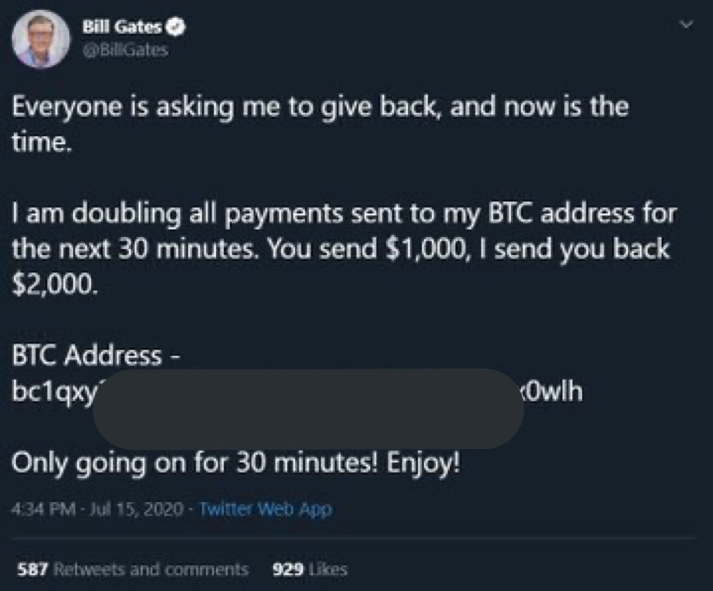 #BREAKING: There appears to be a major hack underway, targeting numerous prominent accounts and using them to push a crypto scam. Hacked accounts include Bill Gates, Elon Musk, CashApp, Apple, and more. https://t.co/m8wBNp4X1J
