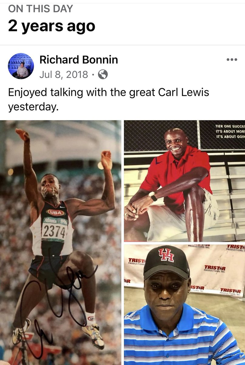 A fond memory from a time when meeting your heroes didn't put anyone's life at risk. Thanks, @Carl_Lewis! The signed memorabilia shown here hang proudly on my wall. @UHCougarTF https://t.co/dZMgTwyv1j