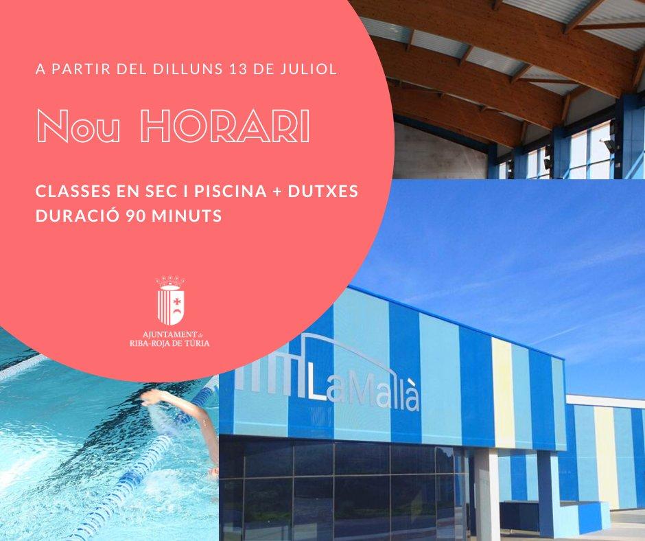 Ampliem l'horari d'estada dels usuaris del Complex Esportiu La Mallà. ‼A partir del dilluns 13 de juliol, les sessions en piscina i sec passen a ser de 90 minuts. Pensem en tu!👌 #esports #natacio https://t.co/bOG0qtMHLO