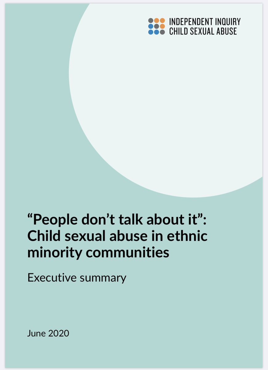Executive summary: People dont talk about it. Child sexual abuse in ethnic minority communities iicsa.org.uk/key-documents/…