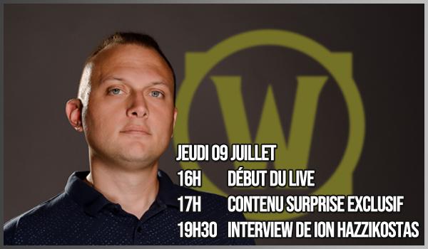 En plus du live de demain matin, je peux vous annoncer une deuxième session exceptionnelle sur @Warcraft_FR dont voici le programme :  **Contenu exclusif **Interview de @WatcherDev   Si vous avez des questions, faites-le sous ce tweet, j'essaierai d'en intégrer certaines. https://t.co/JmJ8u9Mp7v