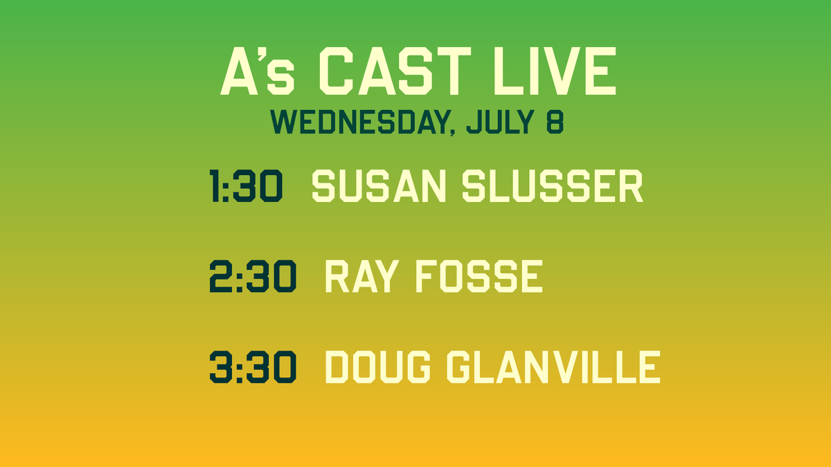 #AsCastLive will be streaming from 1-4pm w/ @Townsendradio!  GUESTS: @susanslusser 1:30 @blummer27 2:00 @athletics Ray Fosse 2:30 @dougglanville 3:30  https://t.co/HGAxc8gMli 📻 https://t.co/Ark8calQyu