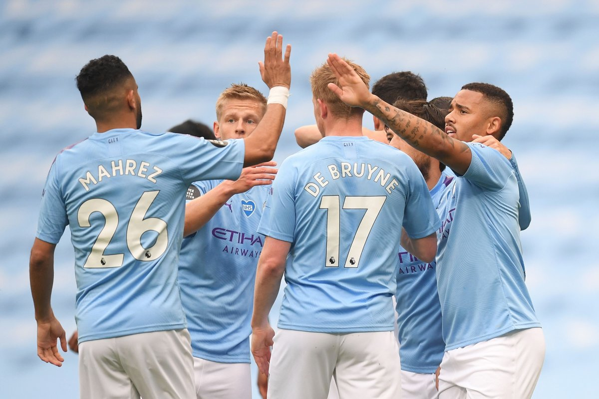 • Sergio Aguero: 16 • Raheem Sterling: 13 • Kevin De Bruyne: 11 • Gabriel Jesus: 11 • Riyad Mahrez: 10 Manchester City are the first English top-flight side to have five team-mates score 10+ goals in a season since Everton in 1984-85 🔥