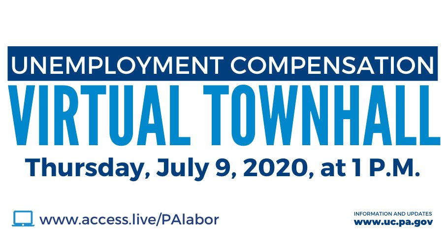 🔴 Our UC team will be hosting another virtual town hall this Thursday, July 9 at 1 PM to discuss UC, PUA, PEUC benefits + take questions.  🔊 Listen in: https://t.co/e8Szhi4xj8 ☎️ Call to listen: 833-380-0719 🗓️ Town Hall & Webinar Recordings:  https://t.co/e0pNNmLa3X https://t.co/I6aOEkjnI6