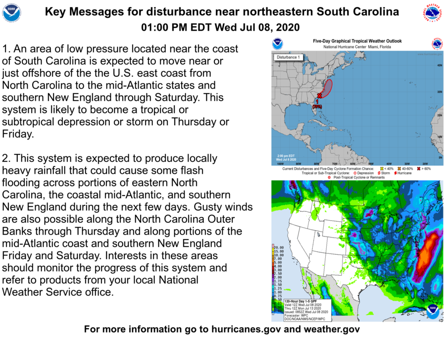 Here are Wednesday afternoon Key Messages regarding the disturbance near the coast of northeastern South Carolina. The system is likely to become a tropical or subtropical cyclone on Thursday or Friday.  Latest information at: https://t.co/tW4KeFW0gB https://t.co/oiDuzV3HGQ