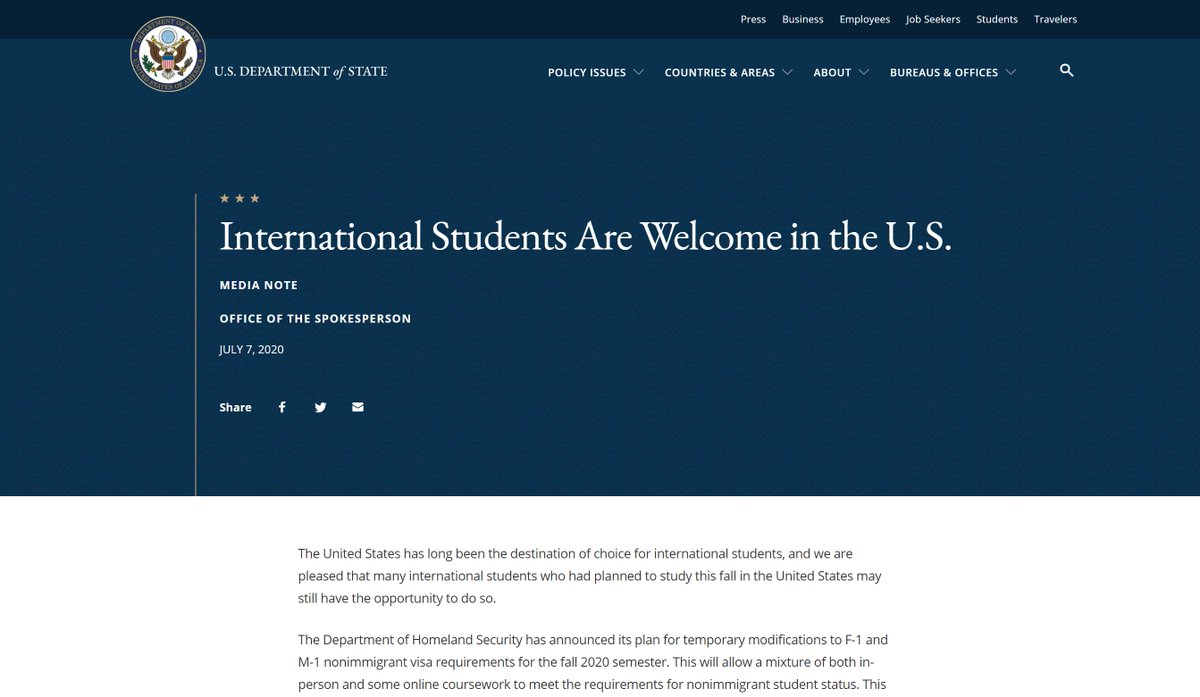 The United States is committed to welcoming #IntlStudents to study in the U.S. this fall. Temporary changes in visa requirements are designed to allow students to continue their education with a mix of online & in-person learning. #HigherEd  More info ➡️ https://t.co/NMq6fGIICs https://t.co/oWO19KYEKr