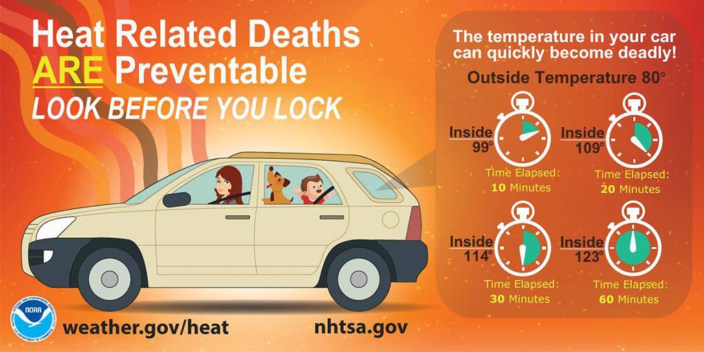 Heat advisories are in place across much of the state today. Take steps to stay safe in the heat. Never leave children or pets alone in vehicles - not even for a minute. Park. Look. Lock. #HeatstrokeKills https://t.co/FkVQbZwTpW