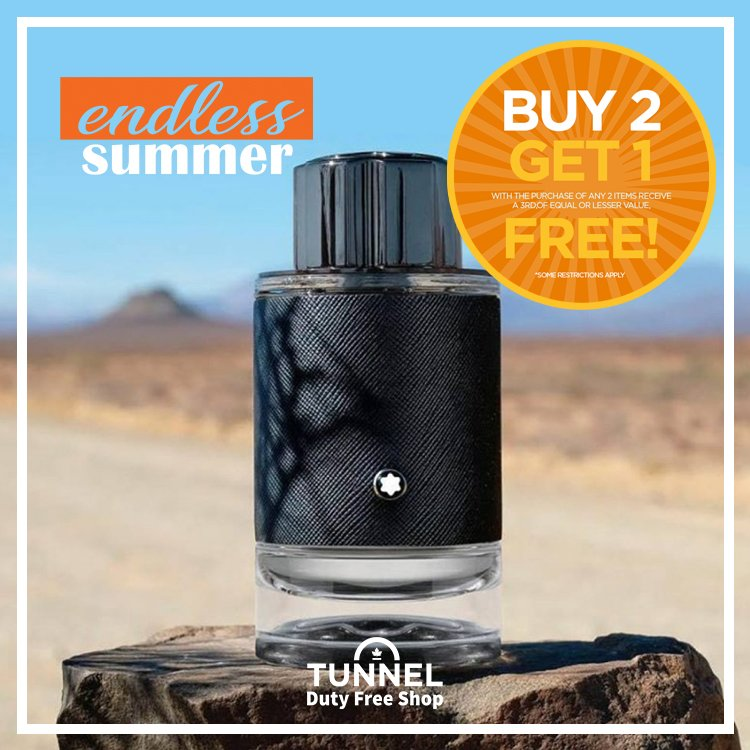 An invitation to explore this summer. Make #MontblancExplorer a part of your BUY 2, GET 1 FREE today! Limited time offer, some restrictions apply. #endless #summer #buy #get #free #savings #shop #tunneldutyfree https://t.co/MNvJ3hkfy3