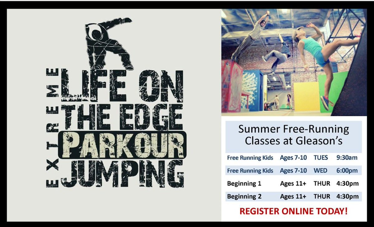 Parkour enthusiasts! We're offering a couple classes just for you! Practice your skills in a safe environment before doing them outside. Reserve your spot today!  #GGS #FreeRunning #Parkour #GleasonsGym #Tricking #Gymnastics #Classes #GleasonsMN #Summer #Funpic.twitter.com/XDqU8j87b7