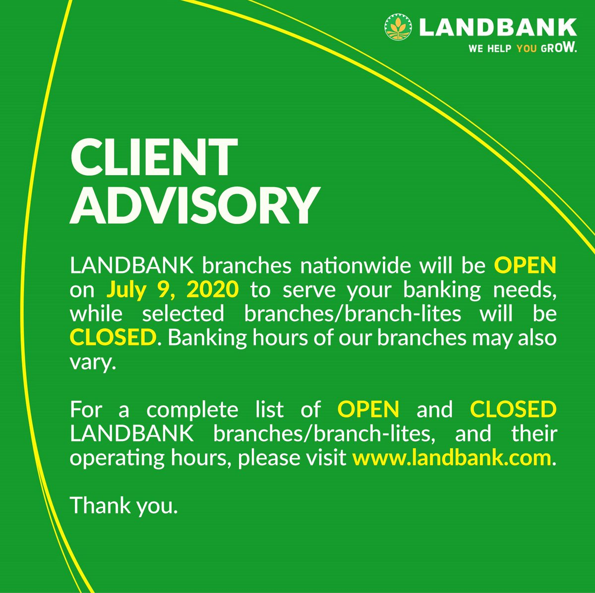 #LANDBANKClientAdvisory  To see the full list of OPEN branches, visit https://t.co/x1txK2A6Nt  To see the full list of CLOSED branches, visit https://t.co/ii4r9xMuWu https://t.co/QRzYXA128m