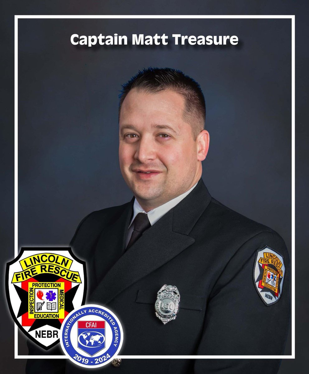 We would like to congratulate Firefighter Treasure on his promotion to Fire Captain. Congratulations Matt!  #LNK #LFR @CityOfLincolnpic.twitter.com/O5o1ELU8T0