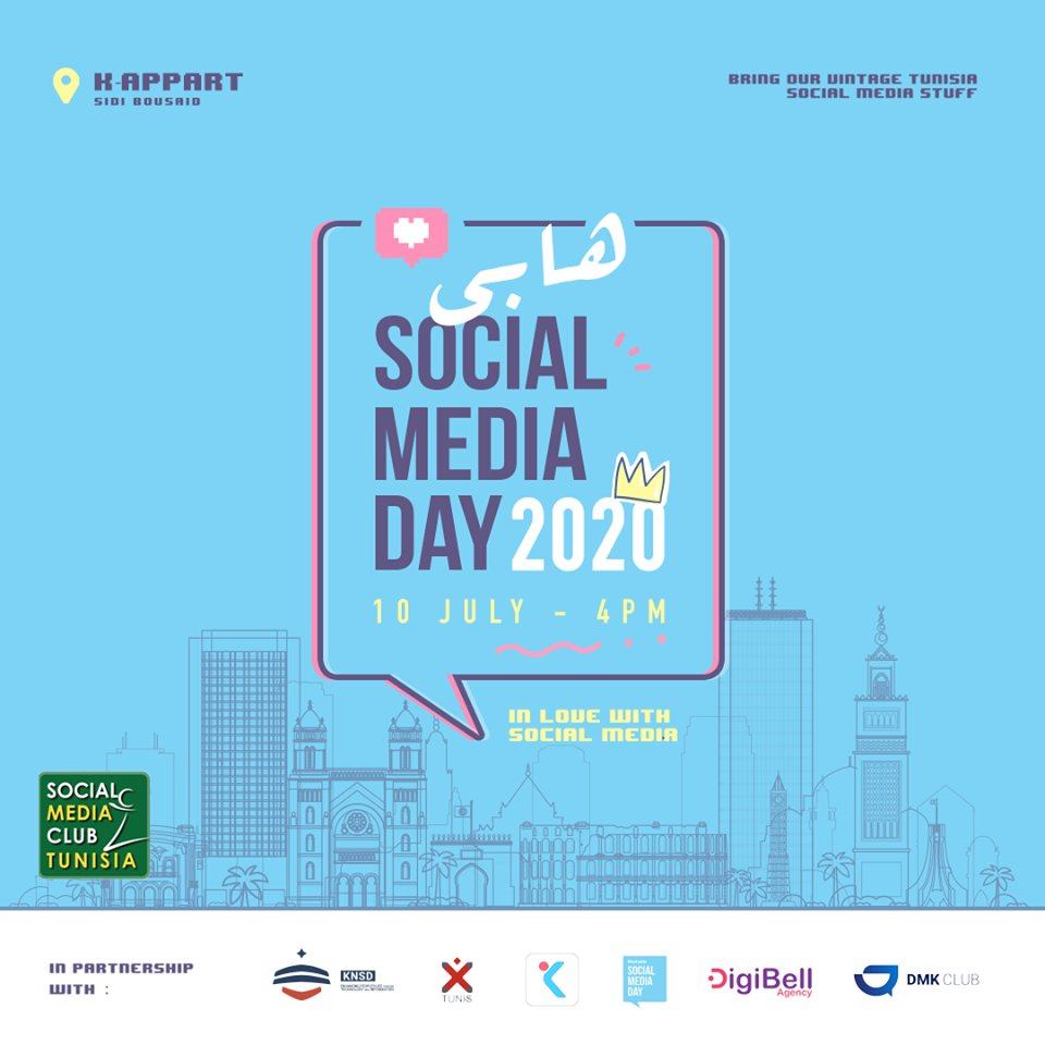 𝐇𝐚𝐩𝐩𝐲 𝐒𝐨𝐜𝐢𝐚𝐥 𝐌𝐞𝐝𝐢𝐚 𝐃𝐚𝐲 𝟐𝟎𝟐𝟎 🎊 à tous les professionnels du marketing digital & tous les passionnés des réseaux sociaux! 🥳 Ravis de célébrer le #SMDay , organisé par le #SMCTunisia et @KNSDdigital , ce Vendredi à K-Appart! https://t.co/1eetA3dwCk #SMDayTn https://t.co/cEokwGCa9k