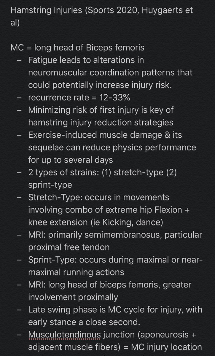 Hamstring injuries are super common in sports, especially football. Here's some brand new research pointing out the most common locations of injury & tips for prevention. This is predominately for physical therapists and doctors. Incorporate this into your prevention/treatment! https://t.co/lxesszz2HO