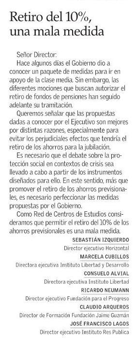 LyD como parte de la Red de Centros de Estudios hoy en @ElMercurio_cl explica que el retiro del 10% es una mala medida y que el camino es avanzar y perfeccionar la propuesta del Gobierno para la clase media. @horizontalchile @InstLibertad @fppchile @FundJaimeGuzman @i_respublica https://t.co/eHSEjckWHa