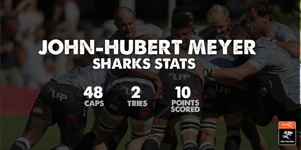 John Hubert Meyer joined The Cell C Sharks in 2016 , and made his Vodacom Super Rugby debut in 2017. Let's take a closer look at some of #OurSharks prop's fin'omenal career stats whilst proudly representing the black and white jersey🦈 #OurSharksForever