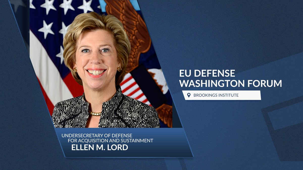 WATCH LIVE: Ellen M. Lord, undersecretary of defense for acquisition & sustainment, joins the @BrookingsInst for a virtual conversation about defense spending and capabilities after #COVID19 at 10:30 am EDT.