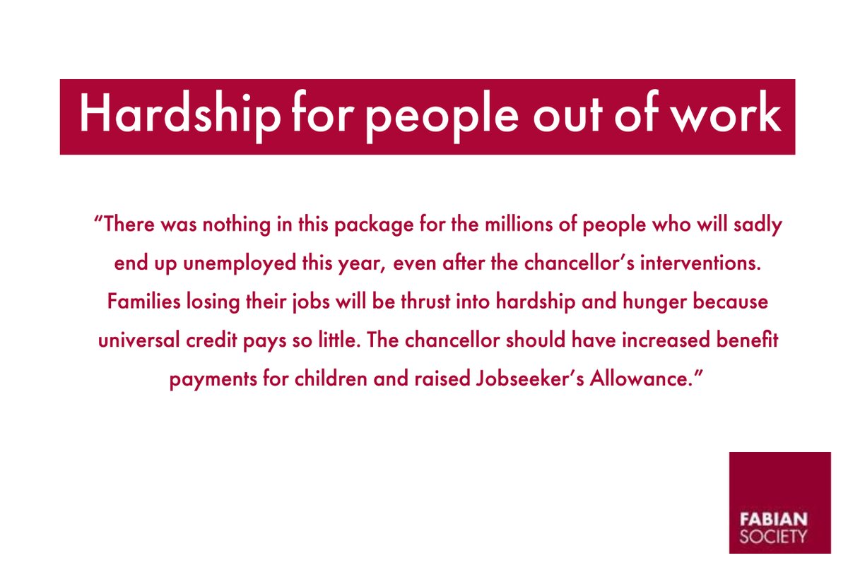 Our response to today's #SummerStatement   Hardship for people out of work   1/4 https://t.co/MIa4YPzx97
