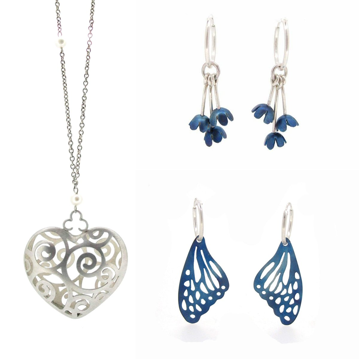 Alice's Heart, Forget Me Not Charm Hoops and Butterfly Wing Hoops by @SianBostwick 🤍🦋  @MwayOpenStudios #medwayopenstudios #openstudios #residentartist #studioartist #jeweller #jewellery #blue #butterfly #aliceinwonderland #forgetmenot #necklace #earrings #medway https://t.co/vHchir8gEL