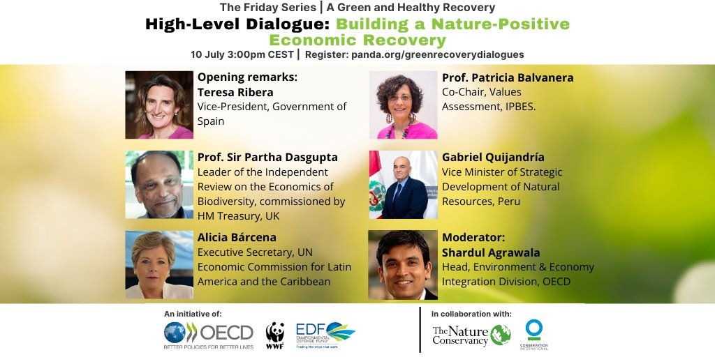 How can we put nature at the heart of #COVID19 recovery plans? 💚  Join us, @OECD_ENV, @EnvDefenseFund, @nature_org, @ConservationOrg and our expert speakers for the next event in the #GreenRecoveryDialogues series!  Register & learn more 👉 https://t.co/hNtJZmF6Et https://t.co/GF2sYfWqxS
