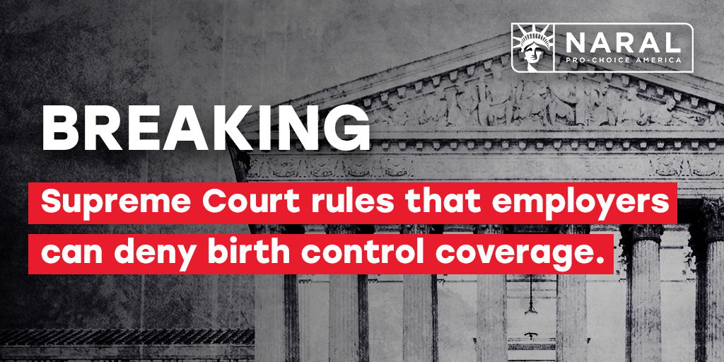 BREAKING: #SCOTUS decided against reproductive freedom today in 𝘛𝘳𝘶𝘮𝘱 𝘷. 𝘗𝘦𝘯𝘯𝘴𝘺𝘭𝘷𝘢𝘯𝘪𝘢. They ruled that virtually any employer can deny their employees health insurance coverage of birth control just because they have personal objections. #HandsOffMyBC https://t.co/YxePn1zrPO