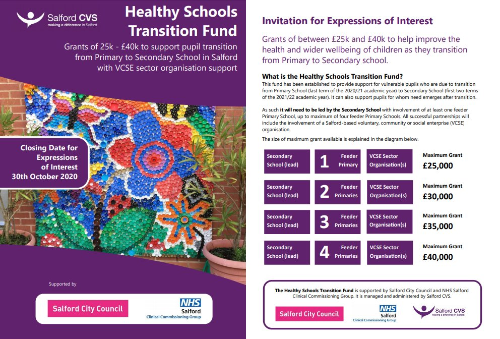 Healthy Schools Transition Fund now live!  Grants of 25K - £40K to support pupil transition from Primary to Secondary School in Salford with VCSE sector organisation support  Interested?  Join a short Meet the Funder session via Zoom on 22nd or 28th Sept: https://www.salfordcvs.co.uk/live-grantspic.twitter.com/sbzb74rMIG