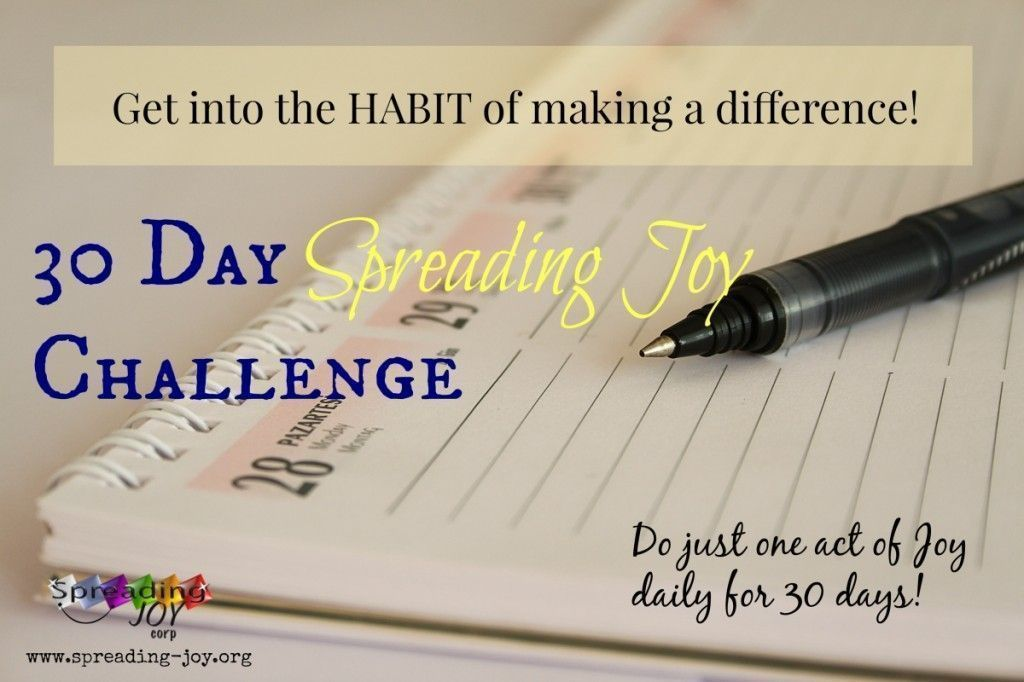 Take the #30Day #spreadingJOY Challenge!  We will Help for FREE 3 ideas emailed to you each day along with some additional encouragement!  One idea is ALWAYS A NO COST way of #makingadifferene   Everyone of any age can do it!  http://www.spreading-joy.org/site/30-days-of-spreading-joy/…   #TeacherTwitter #selfhelp pic.twitter.com/dPREYHclQw