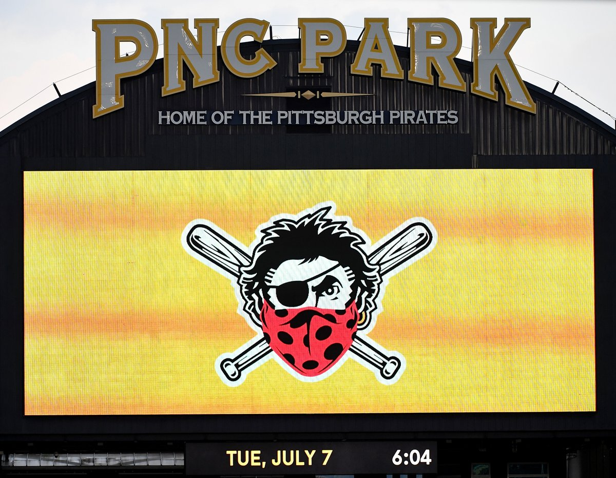 The @Pirates have modified their logo. 👏😷 #WearAMask