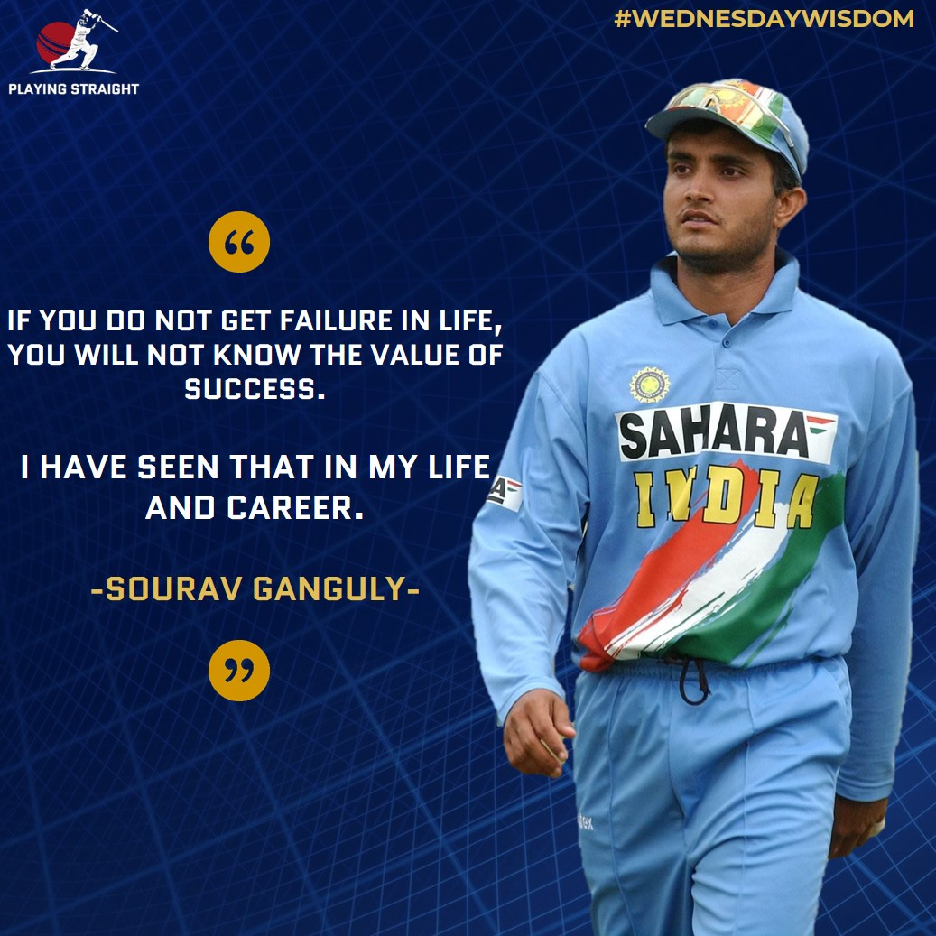 """Wise"" words from our very own 'Dada' to all his fans.🏏😌  @SGanguly99 #HappyBirthdayDada #HappyBirthdayGanguly #SouravGanguly #SouravGangulybirthday #Sourav #wednesdaywisdom #inspirational #WednesdayMotivation #WednesdayThoughts #cricket #cricketmerjaan #ICC #kolkata #india https://t.co/pMKzXIxQ4O"
