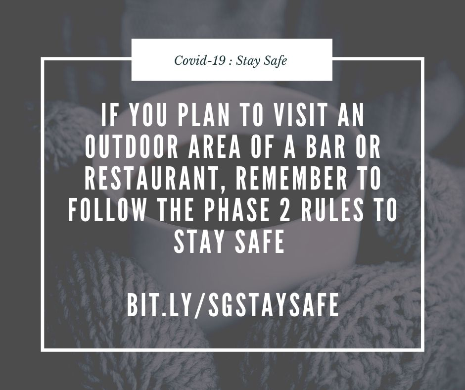 Bars and restaurants which have outdoor areas can re-open in Scotland. Follow these rules to stay safe Phase 2 rules reminder bit.ly/SGStaySafe