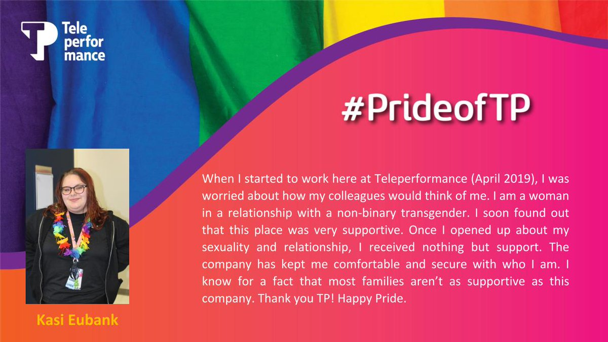 Kasi has no worries and feels secure working with her Teleperformance family.  #Teleperformance  #TPUSA  #PrideMonth https://t.co/lXOooI3jUz