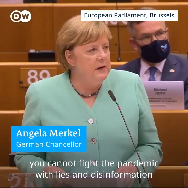 """Angela Merkel: """"You cannot fight the pandemic with lies and disinformation...the limits of Populism are being laid bare.""""  From her speech to the EU today:   https://t.co/CAZMMkUMrw"""