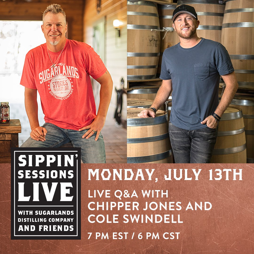 Join me, my buddy @coleswindell and my @SugarlandsShine Fam LIVE on July 13 at 7 PM ET. Taking fan questions, so be sure to leave yours below! #SipsUp https://t.co/sH8j1Sbp85