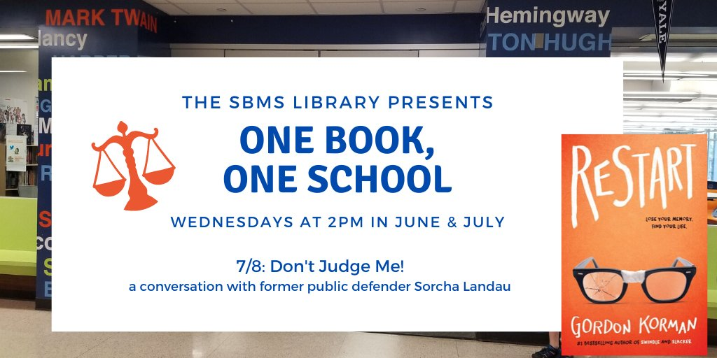 Join the SBMS library today at 2pm for One Book, One School. Today's session will be a special conversation about the juvenile justice system with former public defender Sorcha Landau. #TeamSBMS @SBISDLibpic.twitter.com/qlphLw7dQo