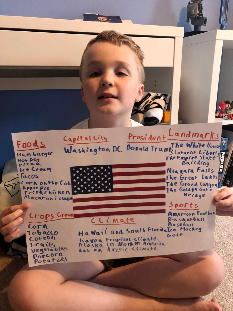 Zach in Y3 has really enjoyed researching the USA as part of his geography this week. #homelearning pic.twitter.com/Us7Eg7xzSB