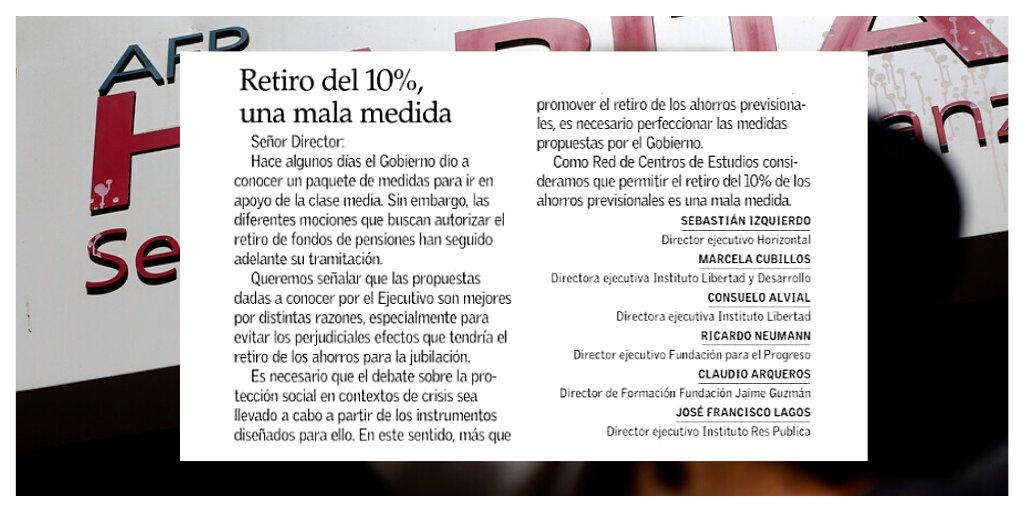 #OPINIÓN ✍️Como parte de la  Red de Centros de Estudios, hoy en @ElMercurio_cl explicamos que permitir el retiro  del 10% de los ahorros previsionales es una mala medida. El camino es avanzar y perfeccionar la propuesta del Gobierno para la clase media👇 https://t.co/duwNl2avQI