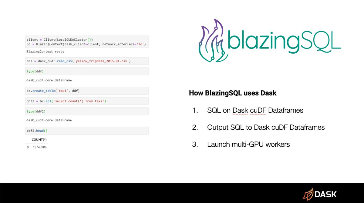 Slide showing BlazingSQL code example